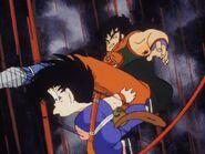 Yamcha kicks goku to get his guard down