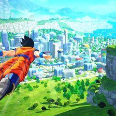 Son Goku in volo.