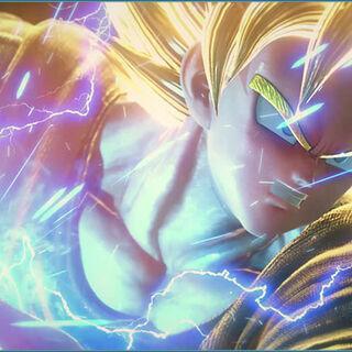 Son Goku trasformato in Super Saiyan.
