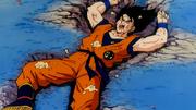 Ginew (nel corpo di Son Goku) messo a terra da Vegeta