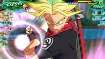 SDBH World Mission Super Attack Super Saiyan Rage Trunks (Future) charging his Point-Blank Galick Gun (UM2-036 Super Saiyan Rage Future Trunks' Super Attack)