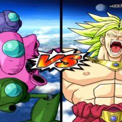 Le Pilaf Machine contro Broly in Dragon Ball Z Budokai Tenkaichi 3.