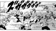 DXRD Caption of Z-Fighters vs. Frieza's 1000 PTO soldiers (Plant race soldier, Zoon-seijin soldier, Aardvark-like soldier Aka's esque, Arqua's esque). Fukkatsu No F Manga chapter 3