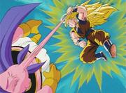 Goku Super Sayan 3 attacca Majin Bu