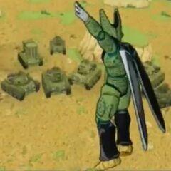Carri armati contro Cell nel videogioco Super Dragon Ball Z.