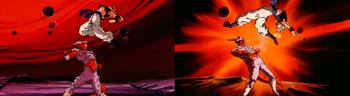 Gogeta's sexy, signature backwards flip kick!