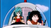 Bulma, Trunks y Yajirobe