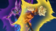 Goku pelea como Super Saiyan contra Beerus