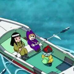Pilaf e scagnozzi sulla barca a remi in Dragon Ball Super.