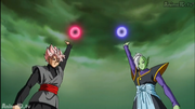 Future Zamasu's Energy Ball and Goku Black's Power Ball as a Super Saiyan Rose respectively