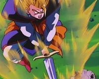 Gohan pulls the sword out