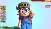 SDBH World Mission CAA Super Ability Subspace Summon W Arale Norimaki salutes SSGSS Goku after being summoned (Double N'cha Kameha Super Attack)