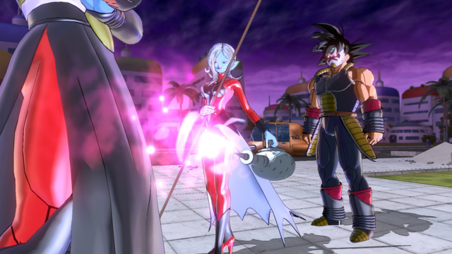 File:DBXV2 Time Breakers (The Decisive Battle with Majin Buu) Time Breakers' Energy Absorber - Towa releasing Damage Energy to Power-Up Mira (Out of my Way! Life or Death Battle - Cutscene 00.5).png