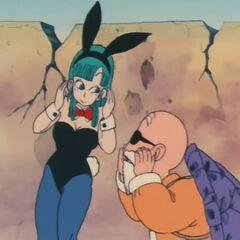 Oolong con le sembianze di Bulma assieme al Maestro Muten.