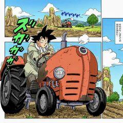 Son Goku guida il trattore.