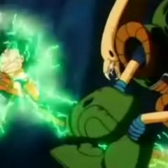 Il Robot Pirata usa il suo attacco elettrico su Goku.