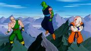 Tenshinhan, Piccolo e Crilin arrivano alle montagne del Nord
