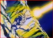 Ráfaga de aura saiyajin en el combate con majin vegeta