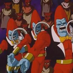 I tre fratelli all'interno di Luud comunicano con Goku telepaticamente.