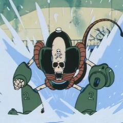 Il Robot Pirata scivola sul pelo dell'acqua.