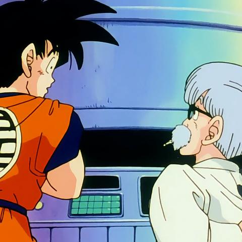 Dr. Brief spiega a Goku i comandi della navicella.