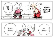 Krillin uses math to confuse Chiaotzu...