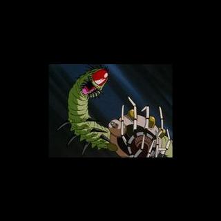 Un Mouma attacca l'astronave di Goku, Pan e Trunks.