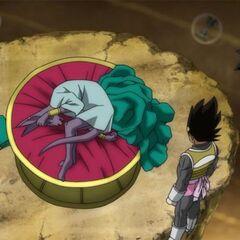 Lord Bill che dorme nel suo letto in Dragon Ball Super.