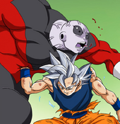 Goku UI gut punch Jiren
