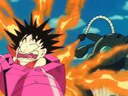 Shu quemando a Goku