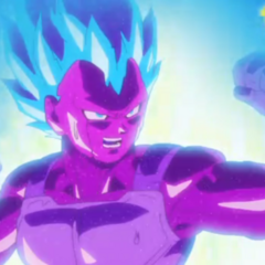 Copia di Vegeta Super Saiyan Blue nell'anime di Dragon Ball Super.