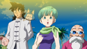Yamcha, Bulma and Roshi watch SSG Goku's debut in Dragon Ball Z - Battle of Gods