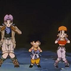 Trunks Goku e Pan ballano il Boogie Parapara.