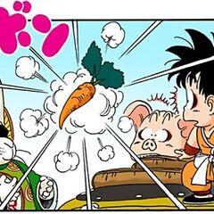 Toninjinka trasforma Bulma in carota (manga).