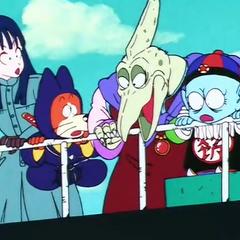 La Banda di Pilaf osserva un combattimento del Grande Mago Piccolo
