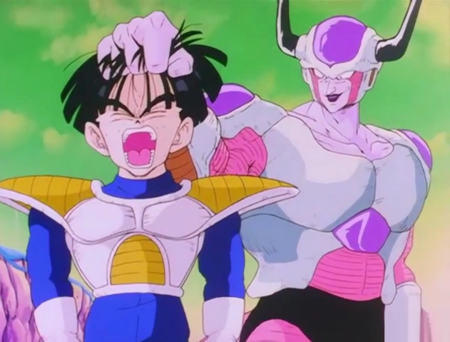 Frieza grabs gohan by the hair5