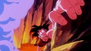 Son Goku si salva dalla lava
