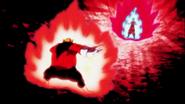 Auras flamantes de Toppo-Goku