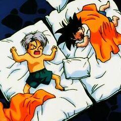Trunks e Goten che dormono nella Stanza dello Spirito e del Tempo.
