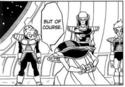 DXRD Caption of Sorbet's elites - Tagoma, Fisshi-esque & Appule's race soldier in Sorbet's spaceship, DBZ Fukkatsu No F 1st manga chapter page 10