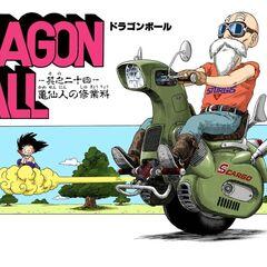 Muten su una moto mono ruota in un'illustrazione a colori.