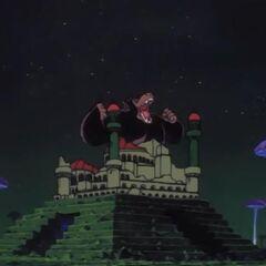 Il castello di Pilaf che viene distrutto da Goku trasformato in OOzaru