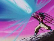 Goku lanzando el Kamehameha x10 contra Baby