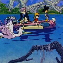 Son Goku, Trunks e Pan in Dragon Ball GT a bordo di un gommone.