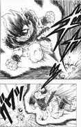 Goku charges towards Frieza