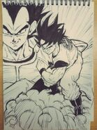Masaki Sato's drawing of Goku arrives on the Flying Nimbus to fight Vegeta