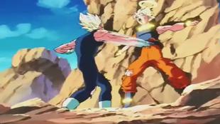 Majin vegeta torturando a goku
