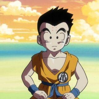 Crilin con capelli corti in Dragon Ball Super.