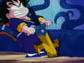 Goku trying to pull out Shula's sword