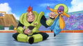 Dragon Ball Heroes trailer - Android 16 effortlessly pounch the sneaky backstabbing Android 15 in his face at the Tenkaichi Budokai